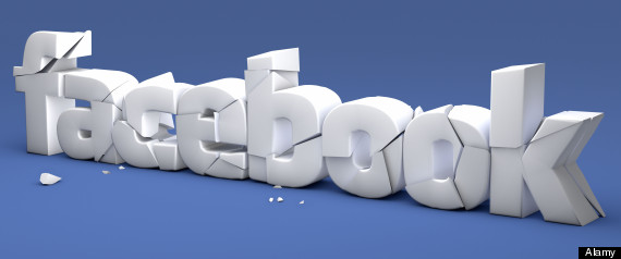 FACEBOOK cracking and crumbling - concept image